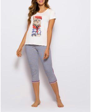 Pijama-Capri-Any-Any-Visco-Premium-Gato-Listras