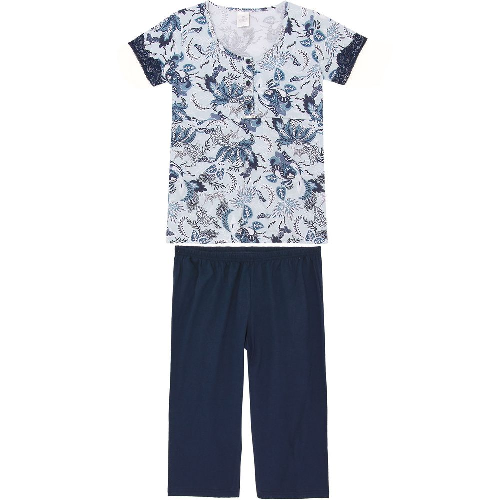 Pijama-Capri-Toque-Semi-Aberto-Algodao-Floral