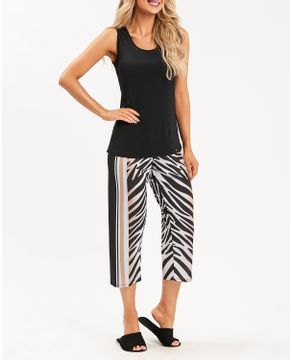 Pijama-Capri-Regata-Recco-Microfibra-Amni-Zebra