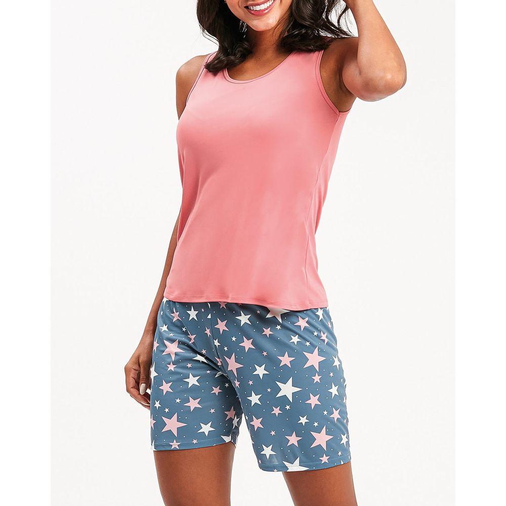 Pijama-Feminino-Recco-Microfibra-Bermuda-Estrelas