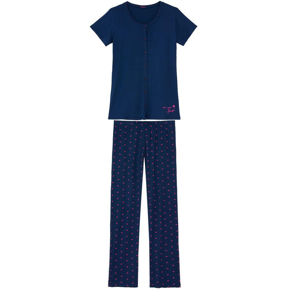 Pijama-Feminino-Any-Any-Aberto-Calca-Viscolycra-Beijos