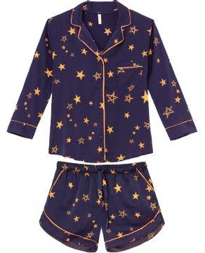Pijama-Feminino-3-4-Aberto-Lua-Lua-Satine-Estrelas
