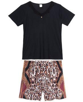 Pijama-Plus-Size-Feminino-Toque-Microfibra-Short-Onca