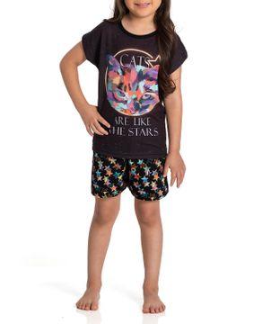 Pijama-Infantil-Feminino-Toque-Poliplex-Viscolycra-Gato