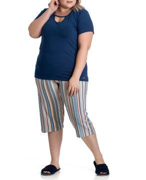 Pijama-Plus-Size-Capri-Toque-Viscolycra-Listras