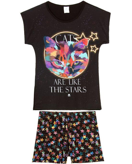 Pijama-Feminino-Curto-Toque-Poliplex-Viscolycra-Gato