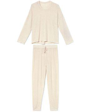 Pijama-Feminino-Recco-Visco-Jacquard-Punhos