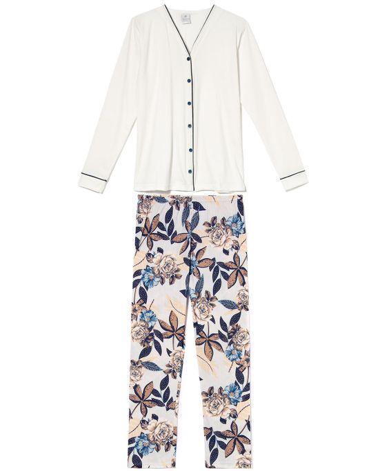 Pijama-Feminino-Aberto-Toque-Algodao-Calca-Floral
