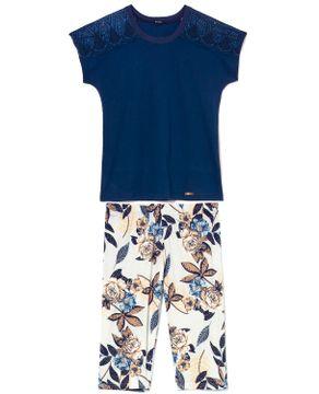Pijama-Capri-Floral-Toque-Algodao-Renda