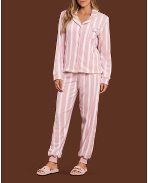 Pijama-Feminino-Aberto-Lua-Lua-Soft-Fleece-Listras