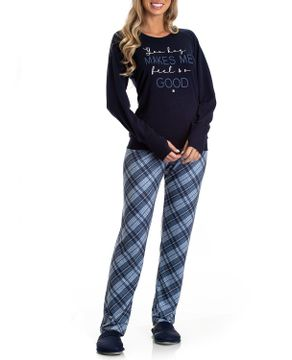 Pijama-Feminino-Toque-Molecotton-Calca-Xadrez