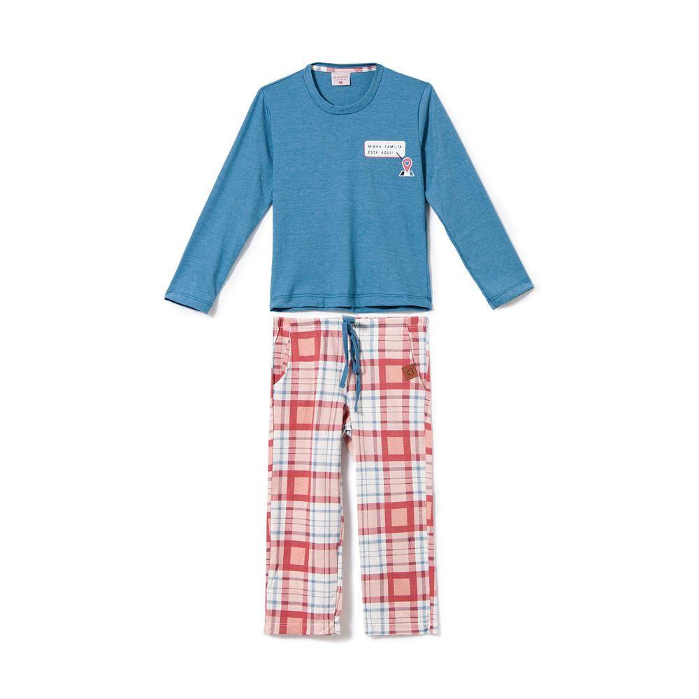 Pijama-Infantil-Feminino-Lua-Encantada-Algodao-Xadrez