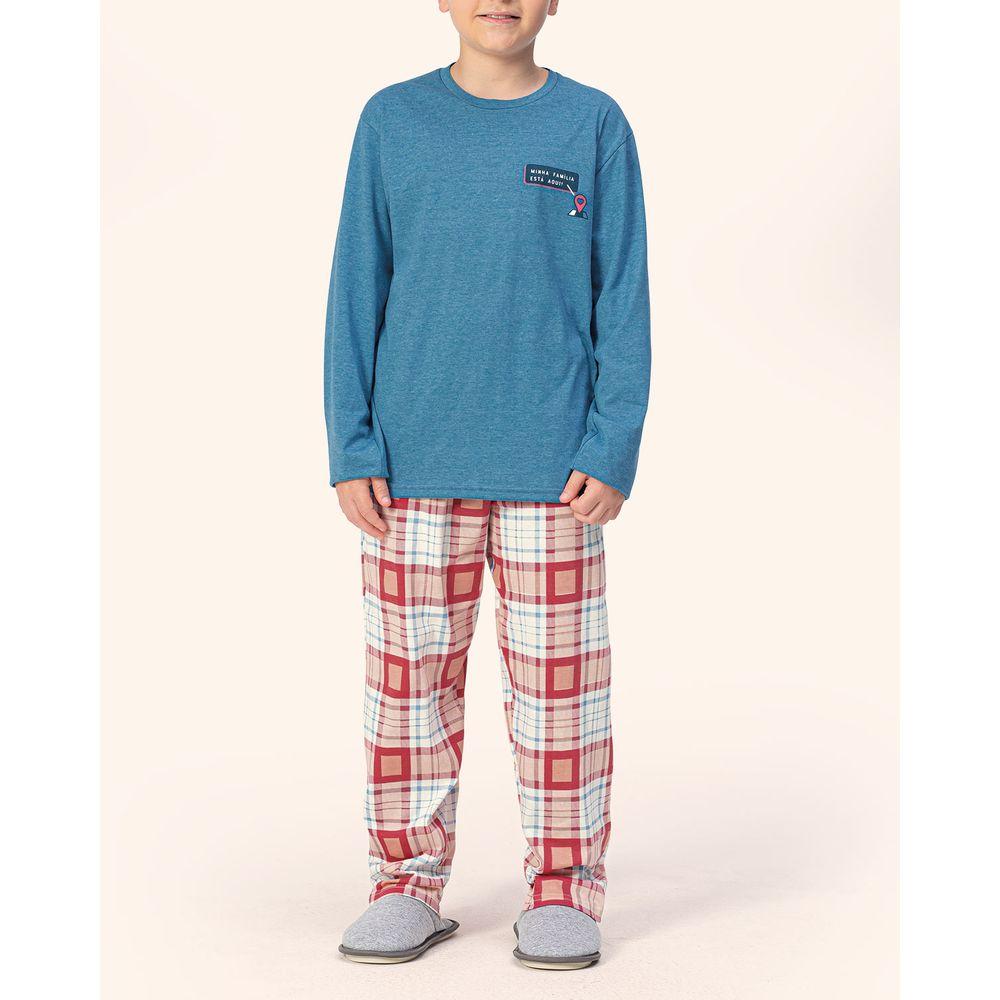 Pijama-Infantil-Masculino-Lua-Encantada-Algodao-Xadrez