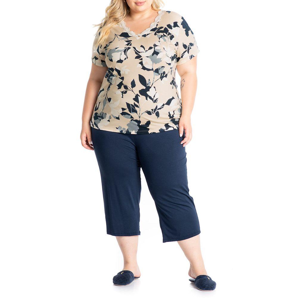 Pijama-Plus-Size-Capri-Daniela-Tombini-Viscolycra-Floral