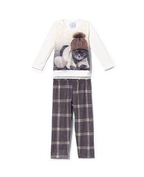 Pijama-Infantil-Feminino-Toque-Flanelado-Gato
