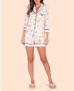 Pijama-Americano-Short-Lua-Lua-Sublime-Touch-Estrelas