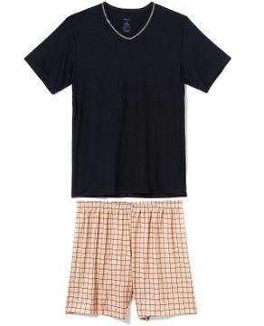 Pijama-Masculino-Curto-Recco-Visco-Stretch-Xadrez