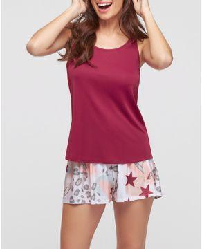 Pijama-Feminino-Regata-Recco-Microfibra-Short-Estrelas