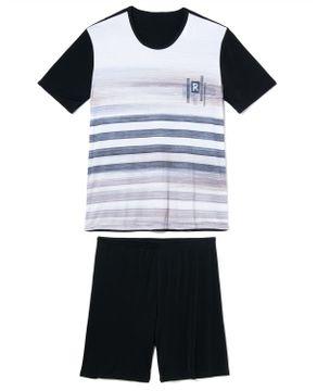 Pijama-Masculino-Curto-Recco-Microfibra-Listras