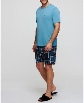 Pijama-Masculino-Curto-Recco-Microfibra-Geometrico